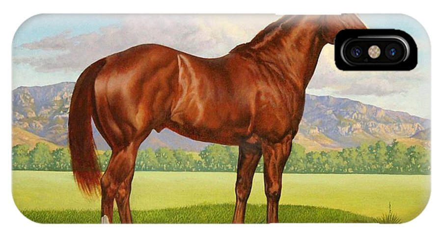 Zantanon Foundation Quarter Horse Sire IPhone X Case featuring the painting Zantanon by Howard DUBOIS