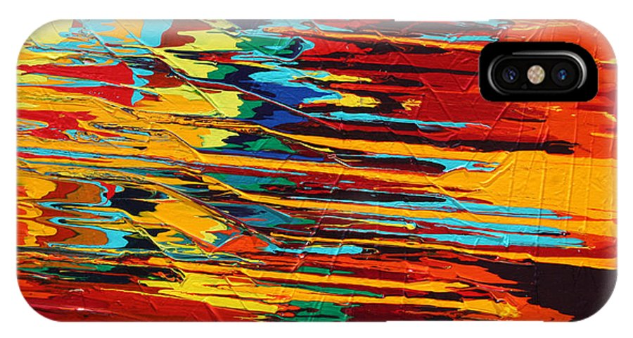 Fusionart IPhone X / XS Case featuring the painting Zap by Ralph White