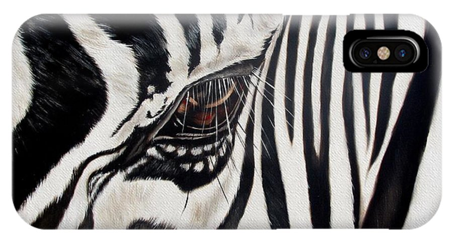 Zebra IPhone Case featuring the painting Zebra Eye by Ilse Kleyn