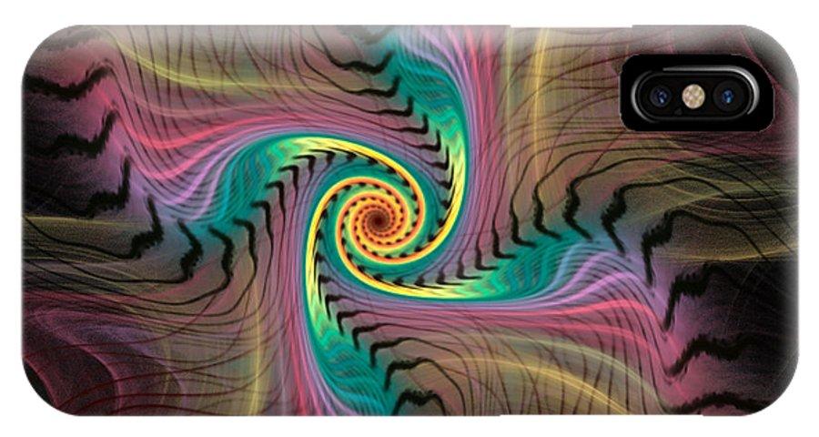 Spiral IPhone X Case featuring the digital art Zebra Spiral Affect by Deborah Benoit