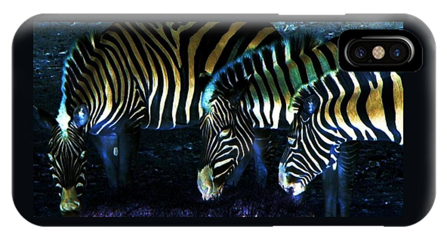 Zebra IPhone Case featuring the digital art Zebras Glow by Kenna Westerman