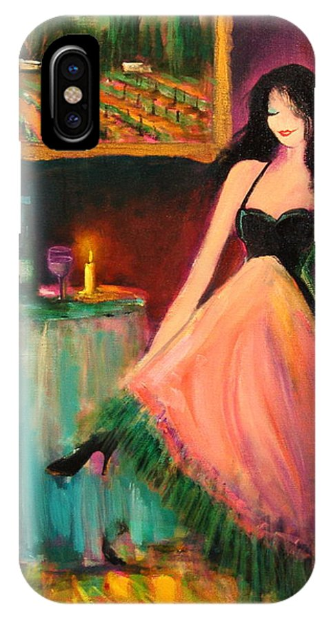 Wine IPhone X Case featuring the painting Zelda by Sally Seago
