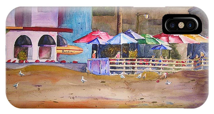 Umbrella IPhone X Case featuring the painting Zelda's Umbrellas by Karen Stark