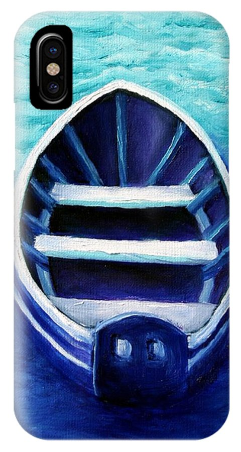 Boat IPhone X Case featuring the painting Zen Boat by Minaz Jantz