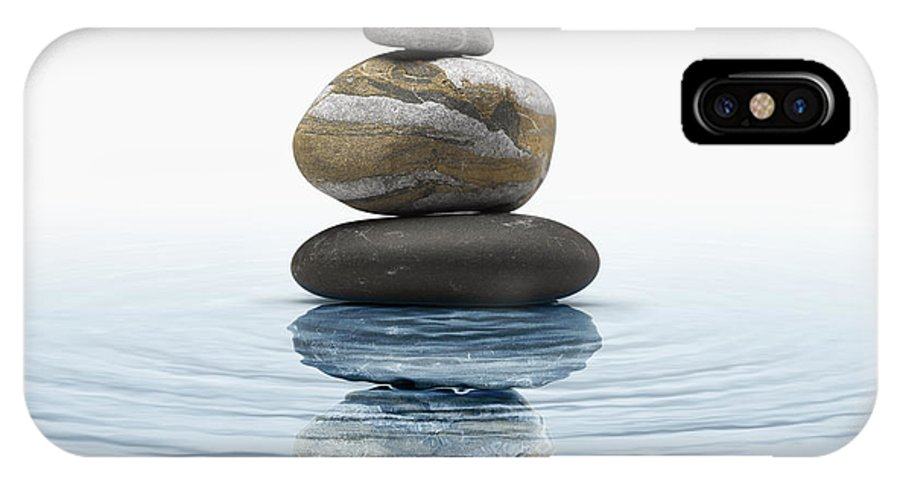 Abstract IPhone X Case featuring the photograph Zen Stones In Water by Bombaert Patrick