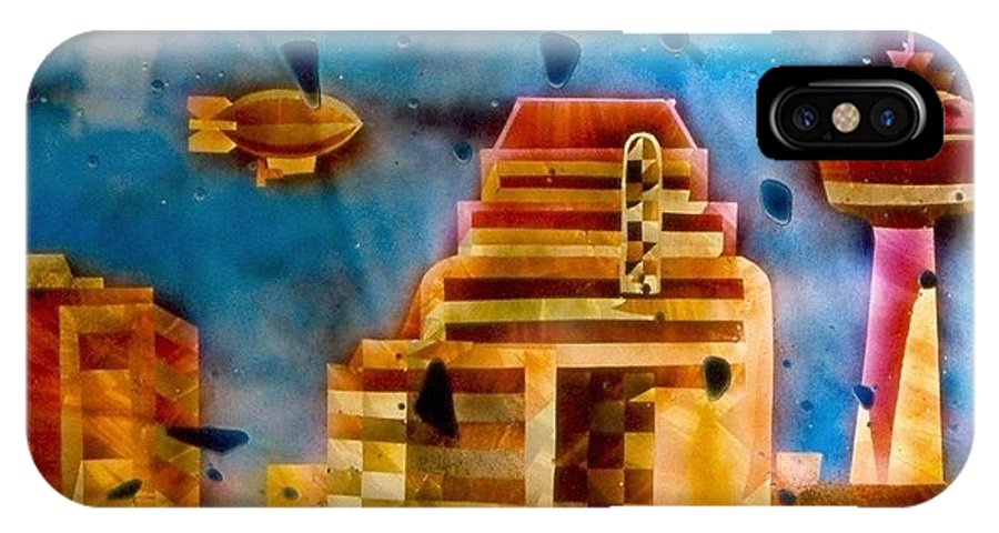 Landscape IPhone X Case featuring the painting Zepplins Detail by Rick Silas