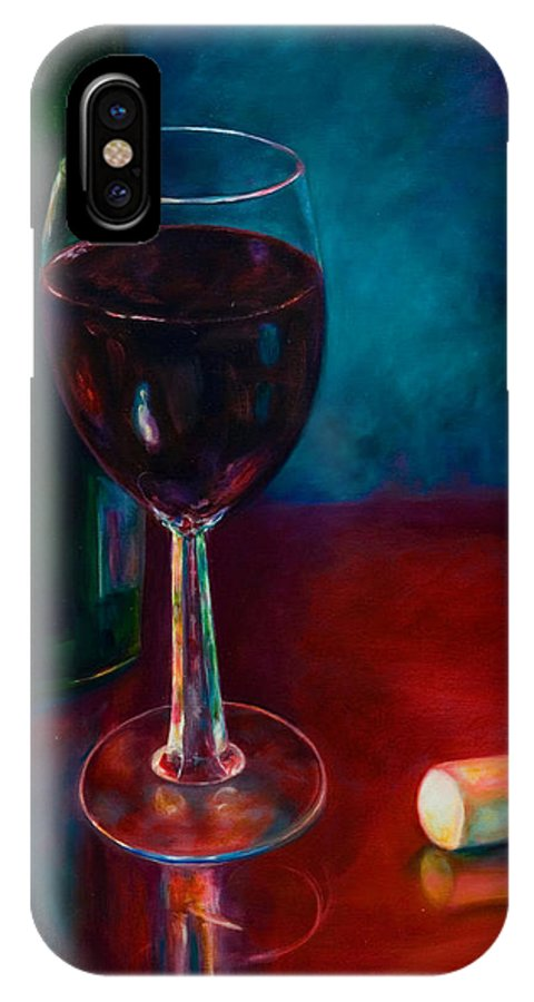 Wine Bottle IPhone X Case featuring the painting Zinfandel by Shannon Grissom