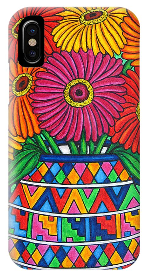 Zinnia IPhone Case featuring the painting Zinnia Fiesta by Lisa Lorenz
