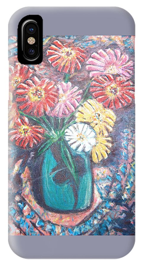 Zinnias IPhone X Case featuring the painting Zinnias In The Sun by Carolyn Donnell
