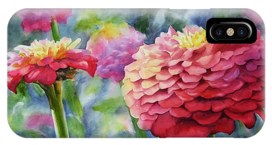Zinnia IPhone Case featuring the painting Zinnias by Sue Zimmermann