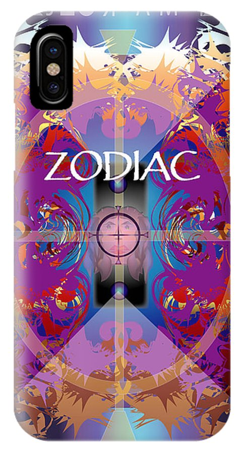 Abstaract IPhone X / XS Case featuring the digital art Zodiac 2 by George Pasini