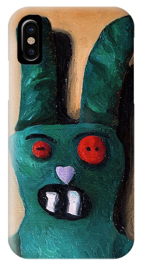 Zombie IPhone X Case featuring the painting Zombie Bunny by Leah Saulnier The Painting Maniac