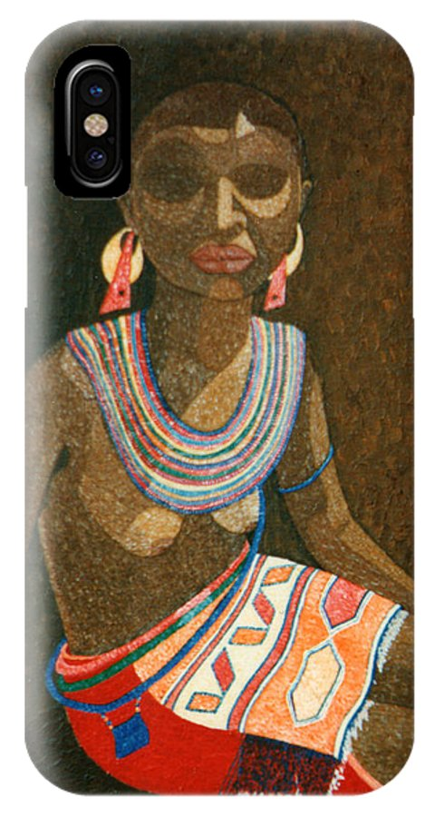 Zulu Woman IPhone Case featuring the painting Zulu Woman With Beads by Madalena Lobao-Tello