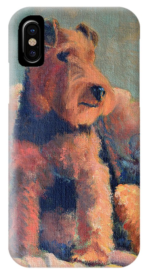 Pet IPhone X Case featuring the painting Zuzu by Keith Burgess
