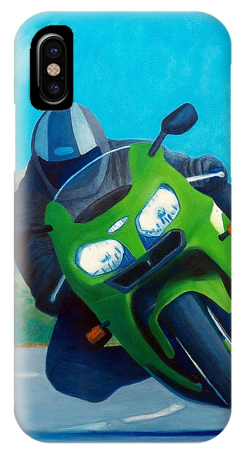 Motorcycle IPhone X Case featuring the painting ZX9 - California Dreaming by Brian Commerford