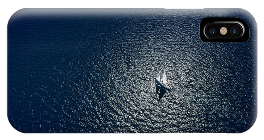 Sailboat IPhone X Case featuring the photograph Amazing View To Yacht Sailing In Open by Im photo