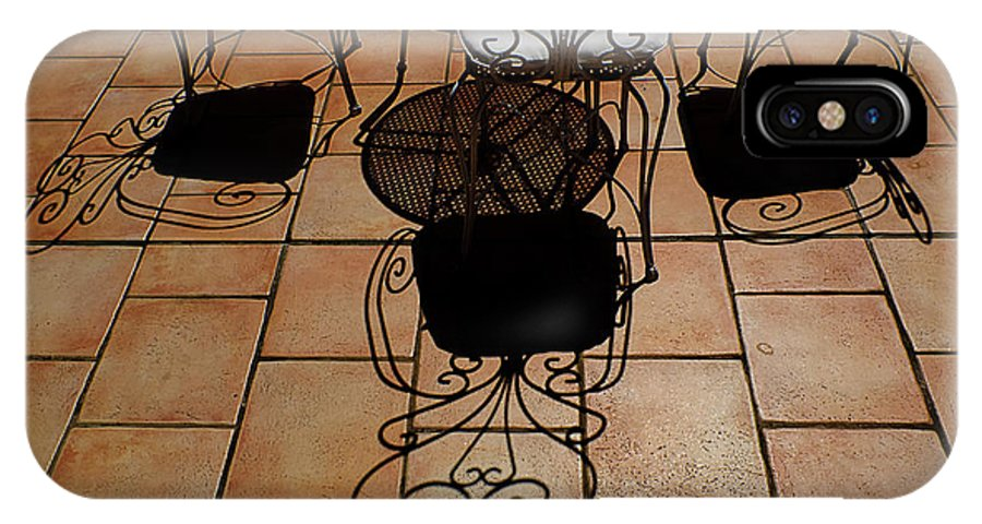 Chairs IPhone X Case featuring the photograph Chairs And Shadows by Mike Nellums