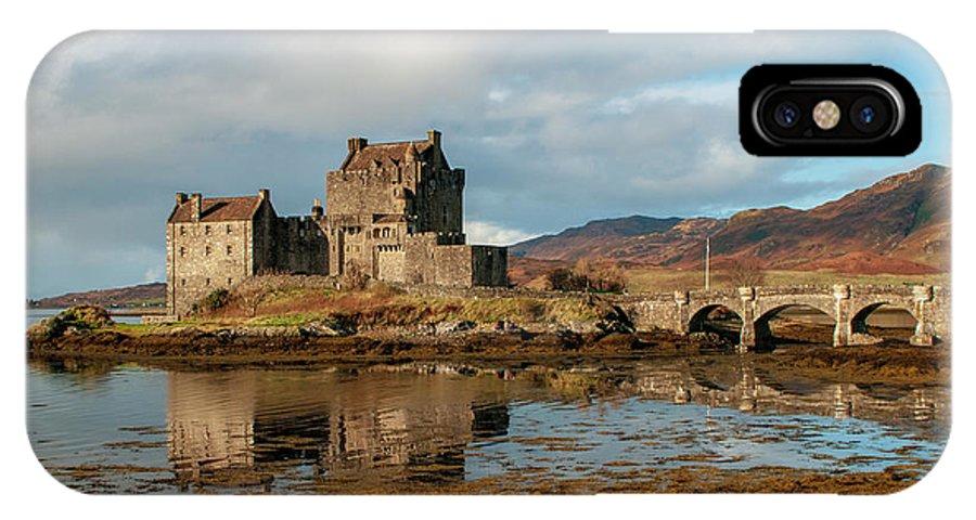 Eilean Donan Castle IPhone X Case featuring the mixed media Eilean Donan Castle by Smart Aviation