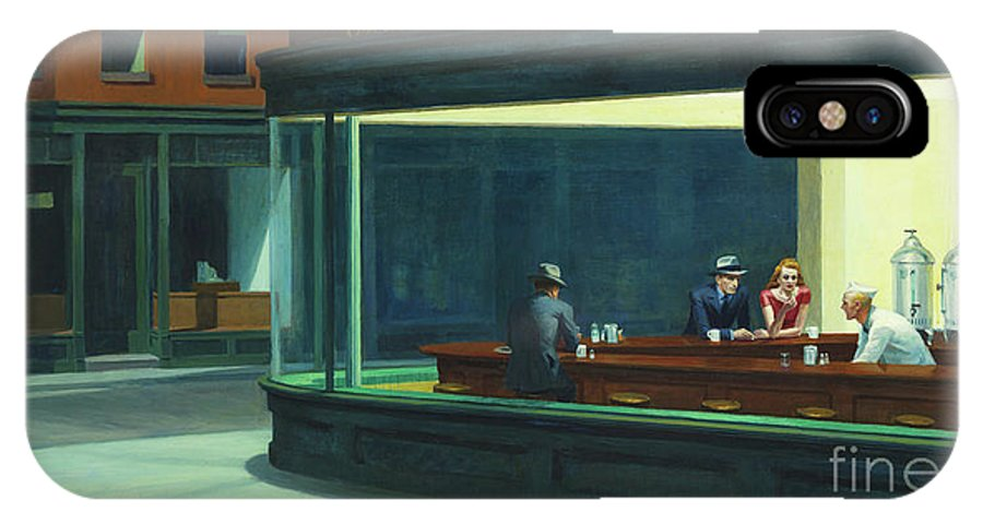 Hopper IPhone X Case featuring the painting Nighthawks, 1942 by Edward Hopper