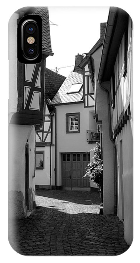 Lane IPhone X Case featuring the photograph old historic street in Ediger Germany by Victor Lord Denovan