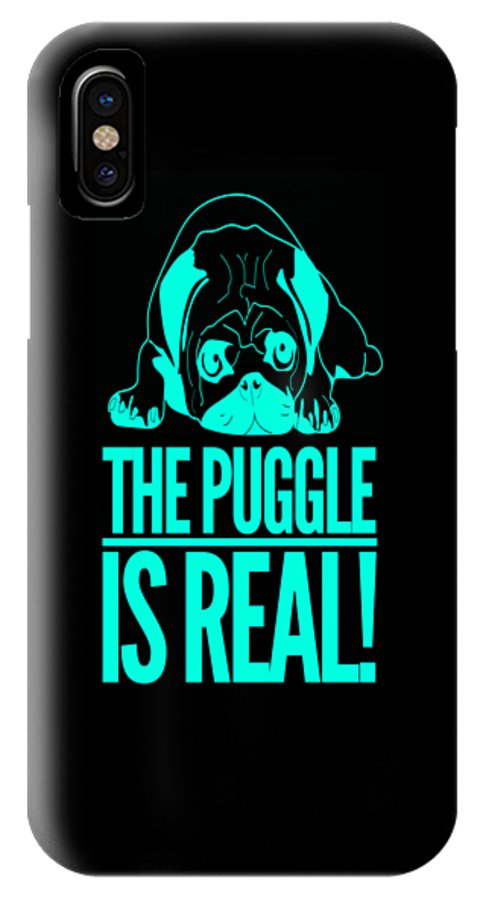 Gift IPhone X Case featuring the drawing Puggle Is Real Funny Humor Pug Dog Lovers by Cameron Fulton