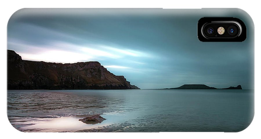 Long Exposure IPhone X Case featuring the photograph Rhossili Bay And Worms Head by Leighton Collins