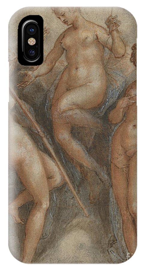 Mythology IPhone X Case featuring the drawing Three Goddesses Minerva, Juno And Venus by Jan van der Straet