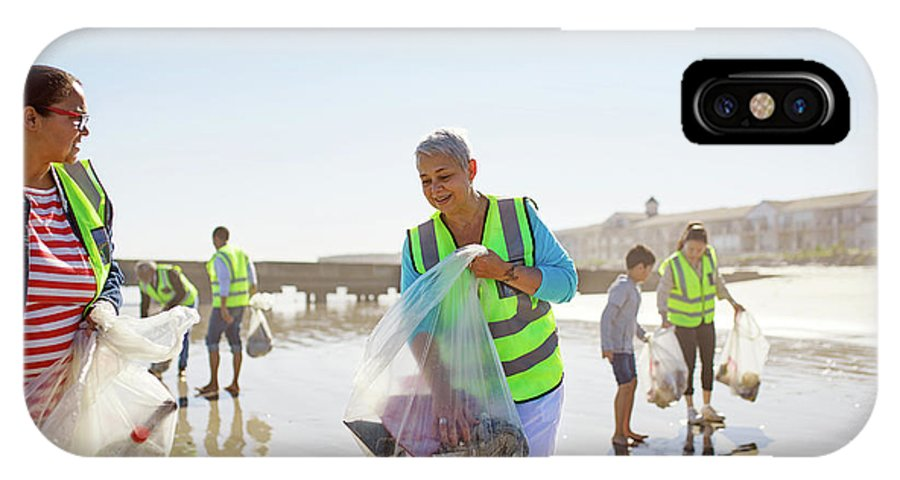 35-39 Years IPhone X Case featuring the photograph Volunteers Cleaning Up Litter On Sunny by Caia Image/science Photo Library