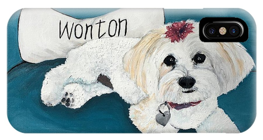 Maltese IPhone X Case featuring the painting Wonton by Judy Swerlick