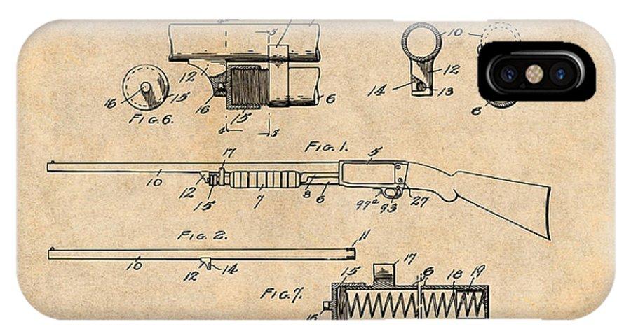 1913 Remington Model 17 Pump Shotgun Patent Print IPhone X Case featuring the drawing 1913 Remington Model 17 Pump Shotgun Antique Paper Patent Print by Greg Edwards
