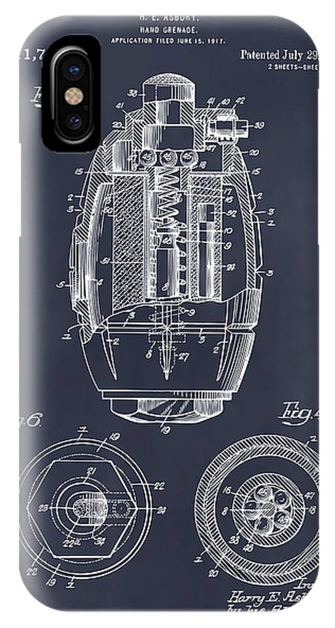 1917 Hand Grenade Patent Print IPhone X Case featuring the drawing 1917 Hand Grenade Blackboard Patent Print by Greg Edwards