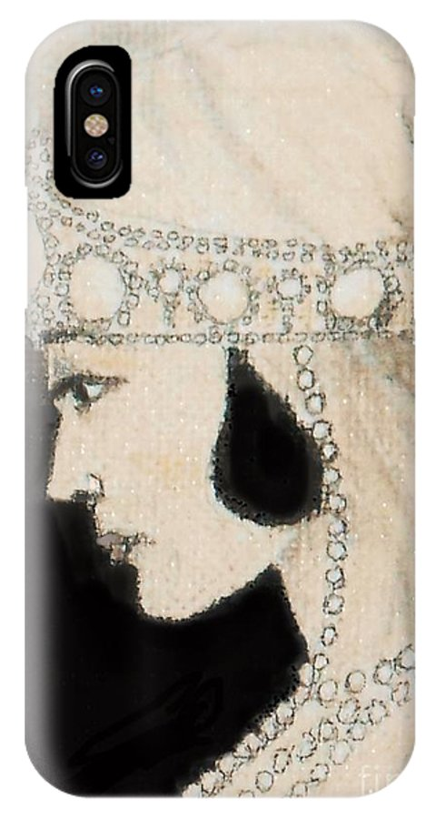 Bride IPhone X Case featuring the drawing 1920's Bride -- The Original by Jayne Somogy
