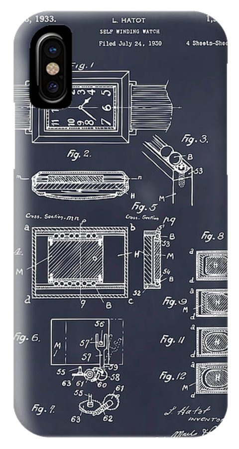 Art & Collectibles IPhone X Case featuring the drawing 1930 Leon Hatot Self Winding Watch Patent Print Blackboard by Greg Edwards