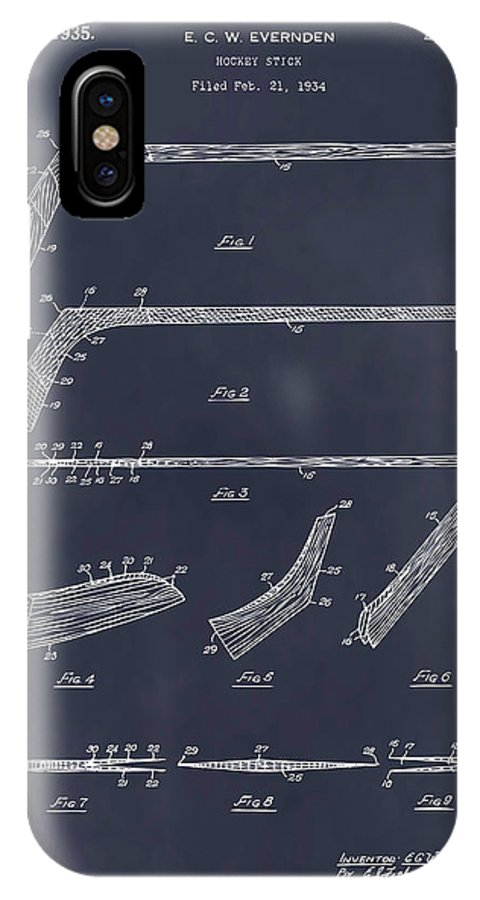Art & Collectibles IPhone X Case featuring the drawing 1934 Hockey Stick Patent Print Blackboard by Greg Edwards