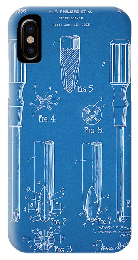 1935 Phillips Screw Driver IPhone X Case featuring the drawing 1935 Phillips Screw Driver Blueprint Patent Print by Greg Edwards