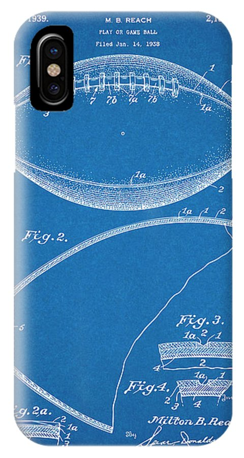1936 Reach Football Patent Print IPhone X Case featuring the drawing 1936 Reach Football Blueprint Patent Print by Greg Edwards