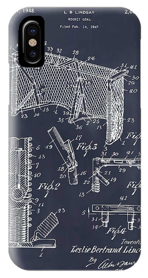 Art & Collectibles IPhone X Case featuring the drawing 1947 Hockey Goal Patent Print Blackboard by Greg Edwards