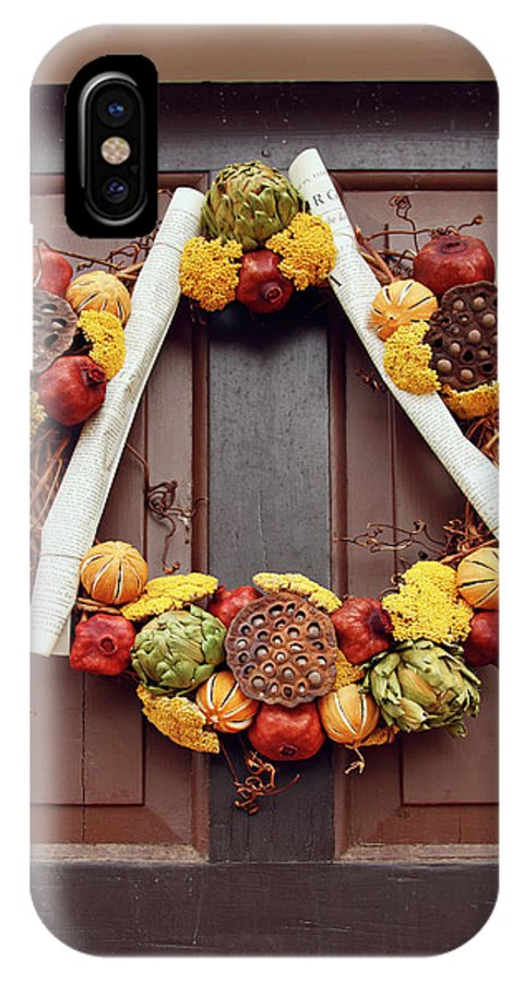 Wreath IPhone X Case featuring the photograph Autumn Wreath by Sally Weigand