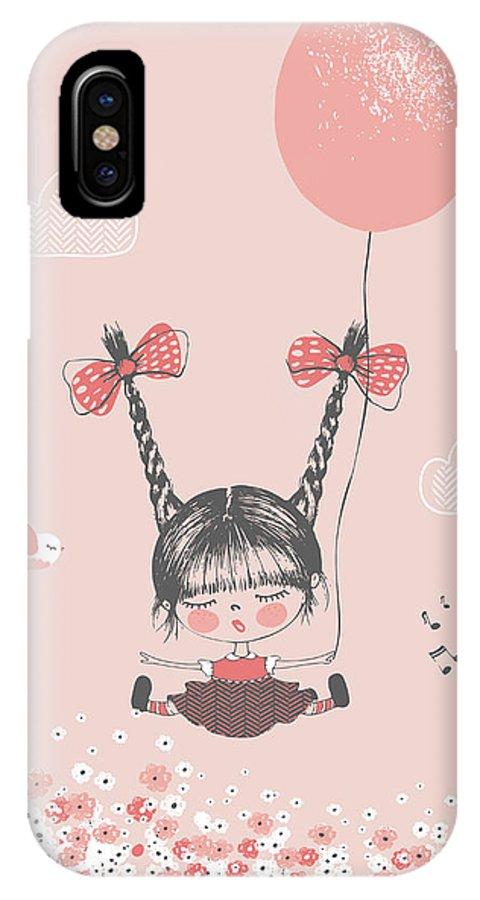 Dress IPhone X Case featuring the digital art Hand Drawn Vector Illustration Of Cute by Eteri Davinski