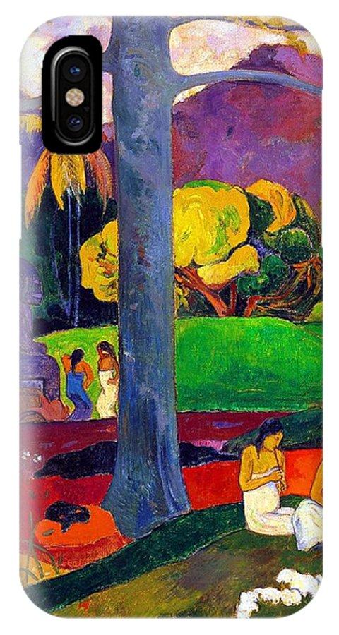 Paul Gauguin IPhone X Case featuring the painting Mata Mua by Paul Gauguin