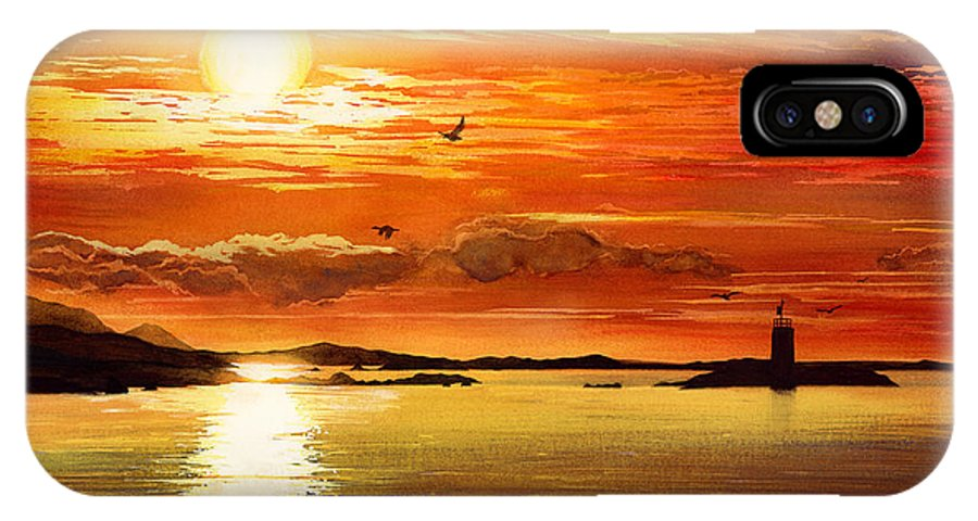 Sunset IPhone X Case featuring the painting Sunset Lake by Hailey E Herrera