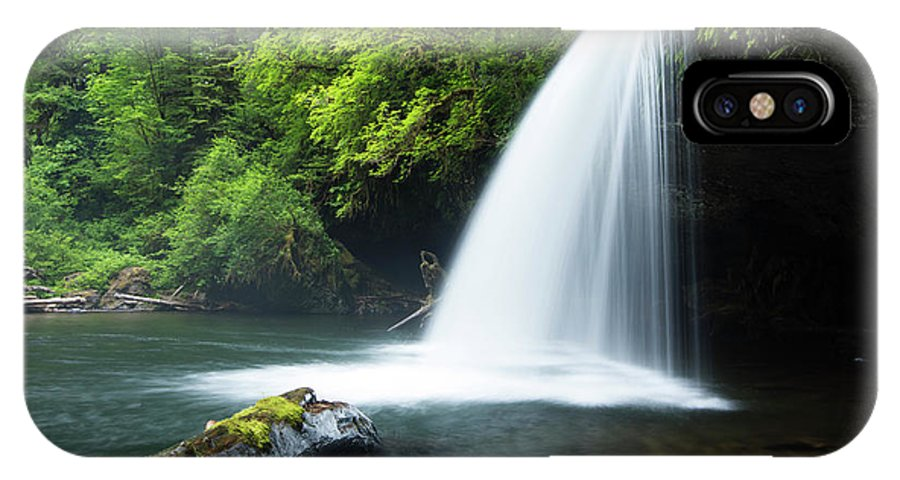 Photography IPhone X Case featuring the photograph Waterfall In A Forest, Samuel H by Panoramic Images