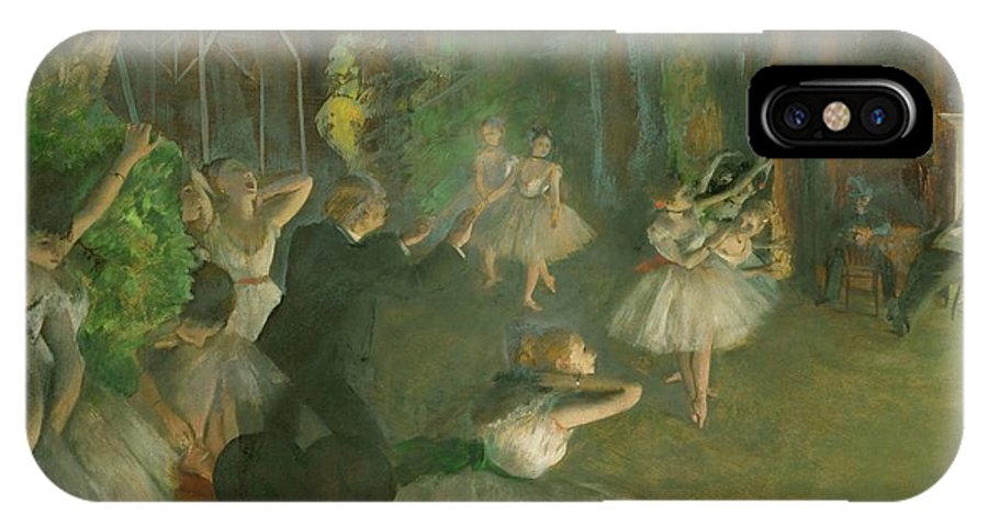 Edgar Degas IPhone X Case featuring the painting The Rehearsal Of The Ballet Onstage by Edgar Degas