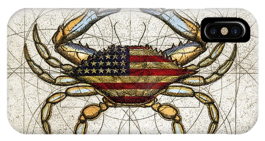 Charles Harden IPhone X Case featuring the mixed media 4th Of July Crab by Charles Harden