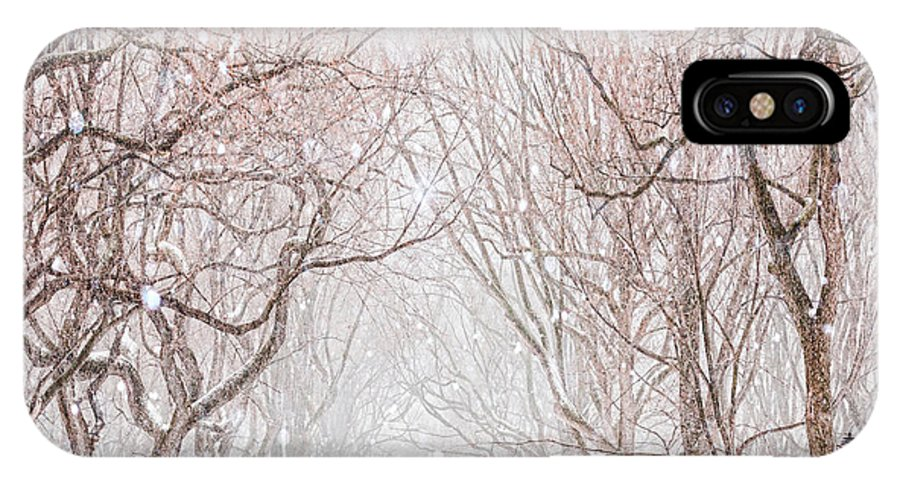 Snow IPhone X Case featuring the digital art A Snowy Lane by Tim Palmer