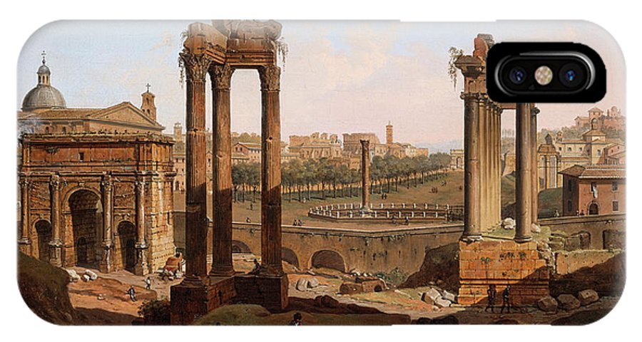View IPhone X Case featuring the painting A View Of The Forum Romanum by Jean Victor Louis Faure
