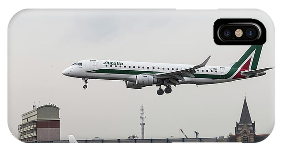 Bird Near Miss IPhone X Case featuring the photograph Alitalia Embraer 190 Bird Near Miss by David Pyatt