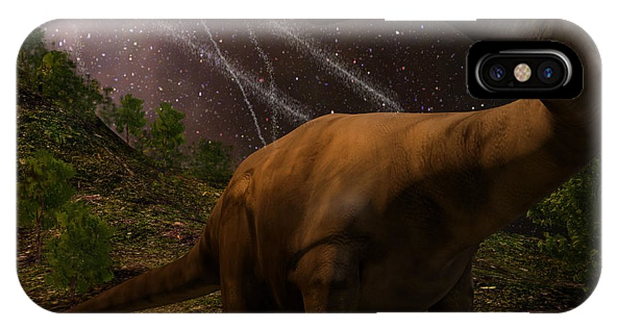 Death IPhone X Case featuring the digital art An Apatosaurus Looks Upon Meteors by Auntspray