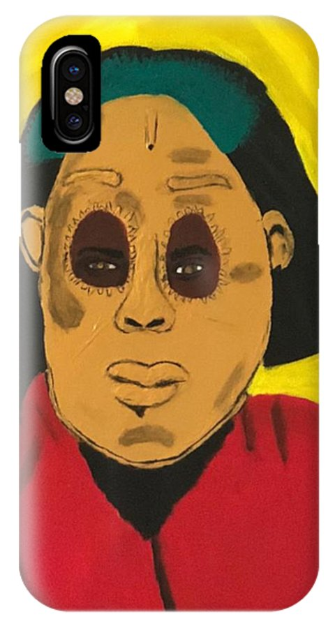 African IPhone X Case featuring the painting Ancestral Spirit by Sonye Locksmith