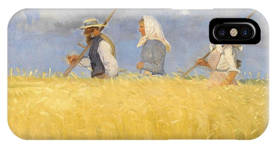 Harvest IPhone X Case featuring the painting Anna Ancher - Harvesters by Celestial Images